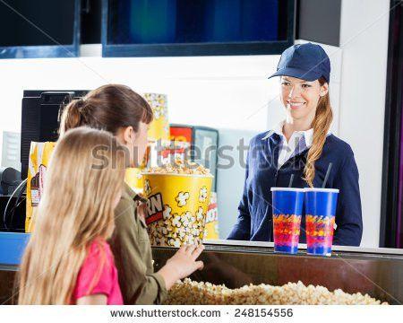 Little Girls Buying Popcorn Drinks Female Stock Photo 248154556 ...
