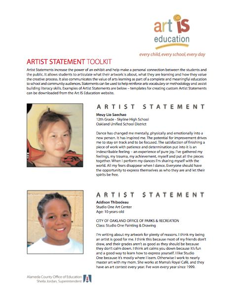 Artists Statement Template - Best Template Collection