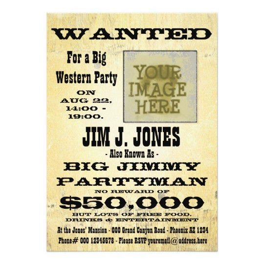 Make a Western Party Wanted Poster Invitation Card | Zazzle.com