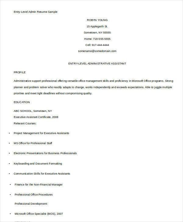 Best Administrative Resume - 17+ Free Word, PDF Documents Download ...
