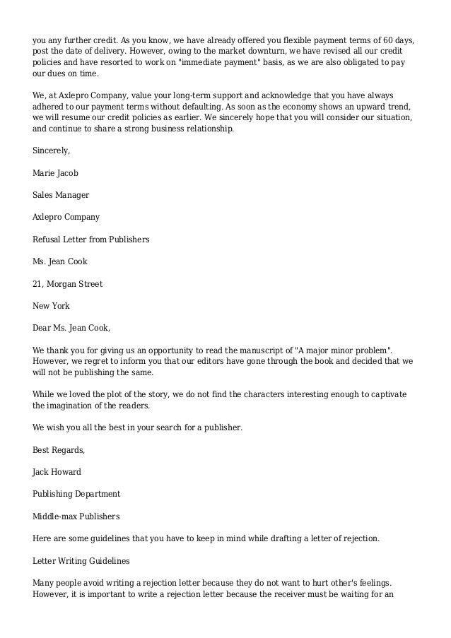 Refusal Letter Example