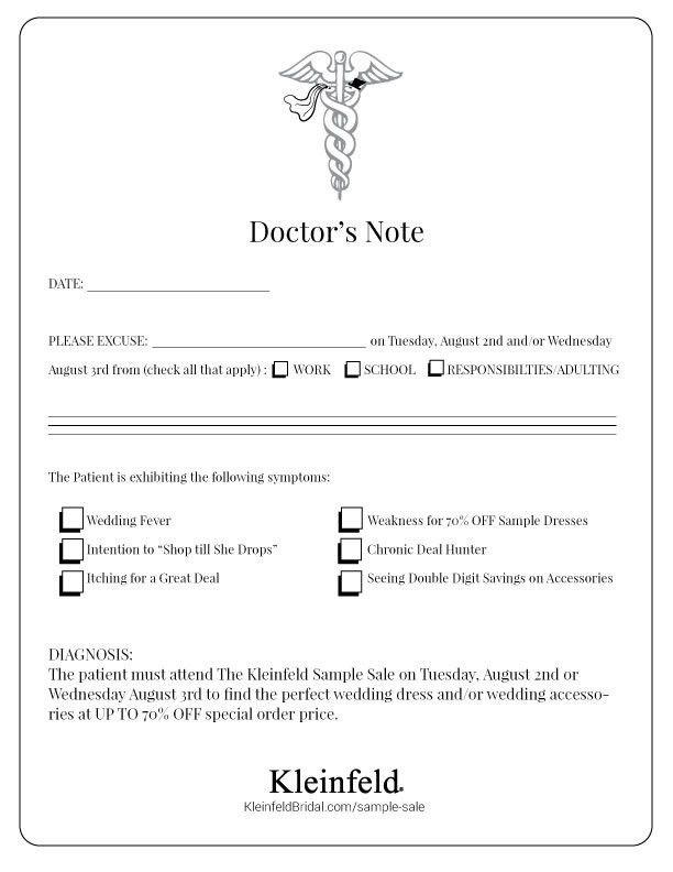 Sample Sale Doctor's Note – Blog