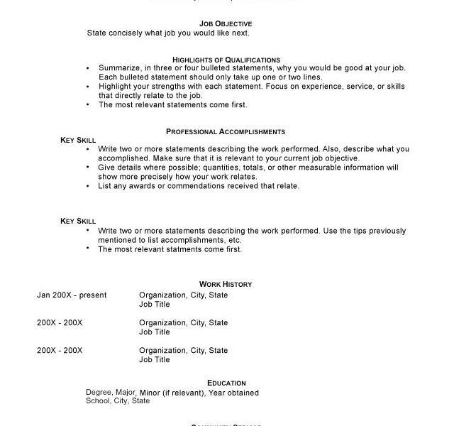 sample of combination resumes