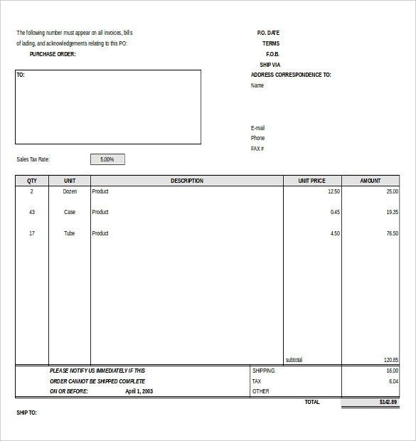 Purchase Order Template - Free Templates | Free & Premium Templates