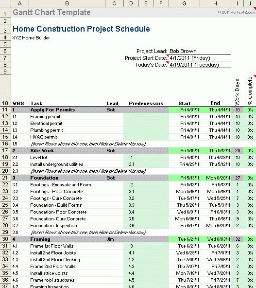 Construction Schedule Template | cyberuse