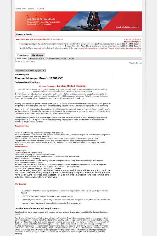 Channel Manager, Bronto job at Oracle in London, United Kingdom ...