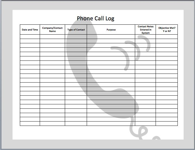 Phone Call Log Template Phone Call Log Template Free Printable ...