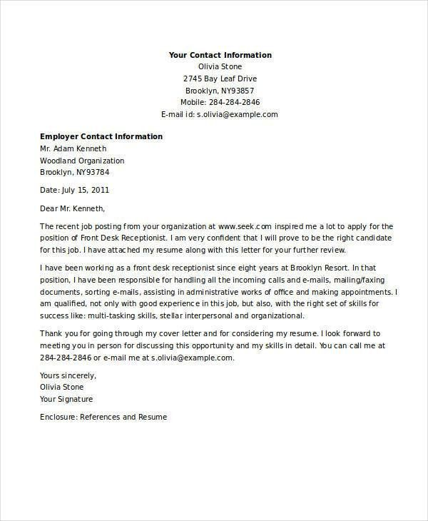 9+ Receptionist Job Application Letters - Free Word, PDF Format ...