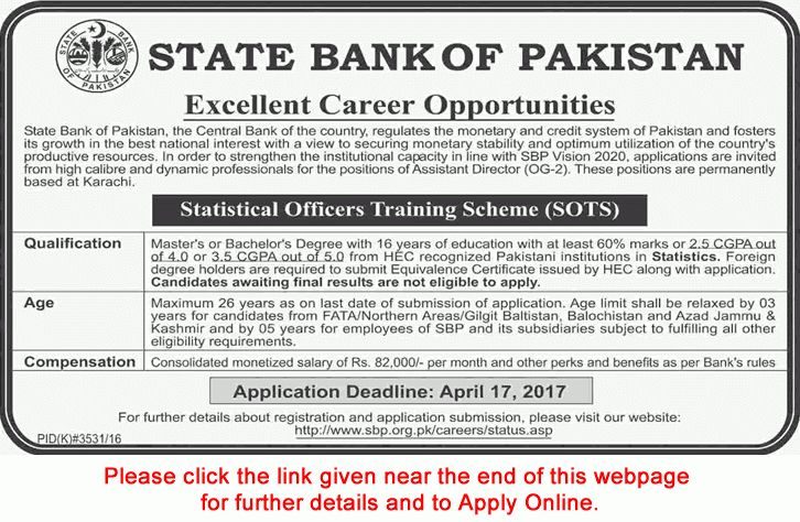 State Bank of Pakistan Jobs March 2017 Apply Online Assistant ...