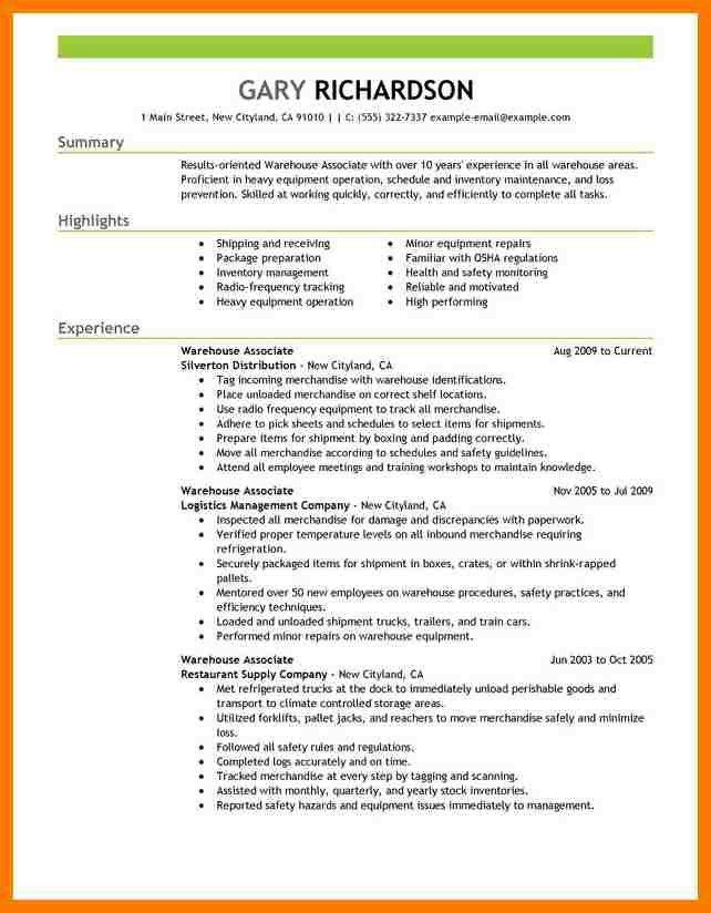 Resume Warehouse Job Responsibilities. warehouse job description ...