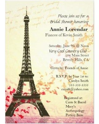 Amazing Deal on Paris Themed Bridal Shower Invitation template