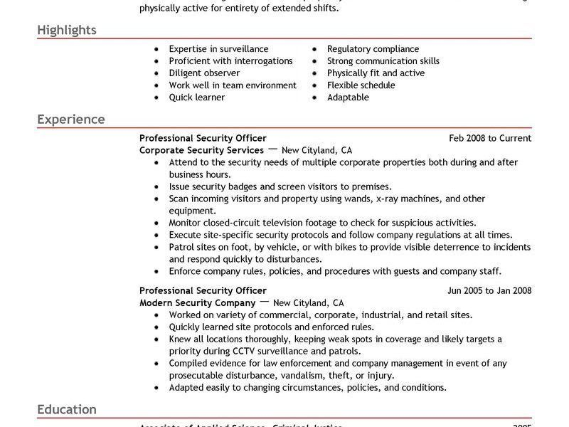 Appealing Security Guard Resume Examples 12 Best Professional ...