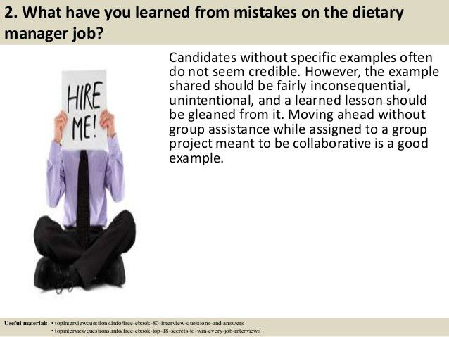 Top 10 dietary manager interview questions and answers