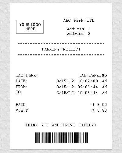 Blank Parking Receipt
