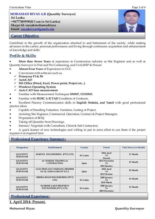 Quantity Surveyor Resume Pdf - Contegri.com