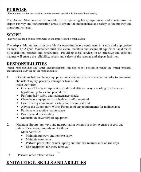 Janitor Job Description Example - 9+ Free Word, PDF Documents ...