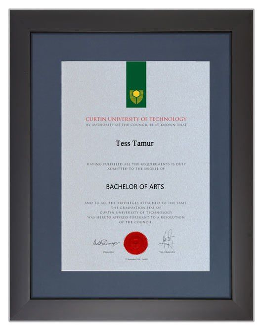 Degree Certificate Frame for Curtin University | GownTown