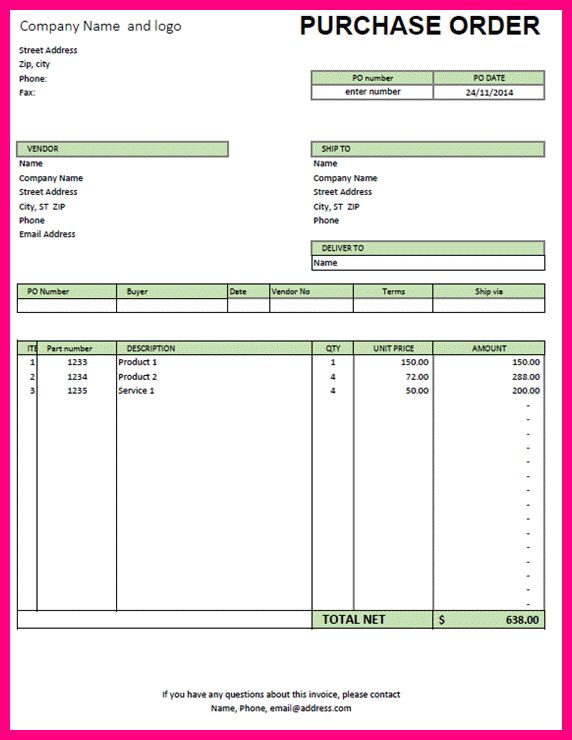 8 excel purchase order template