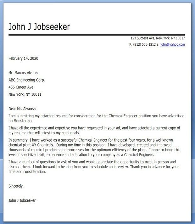 Chemical Engineering Cover Letter | Creative Resume Design ...