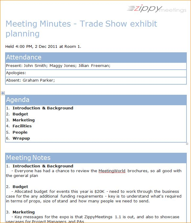 3+ format for meeting minutes | Outline Templates