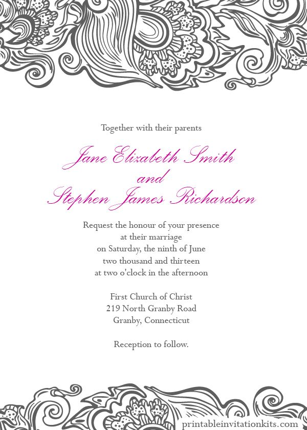 Free Wedding PDF DOWNLOADS. Deco Border Wedding Invitation - easy ...