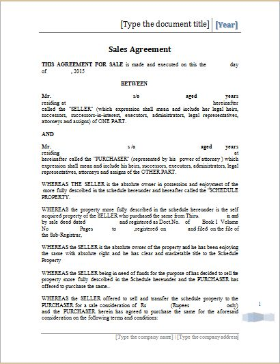 Printable Sales Agreement Template MS Word | Word Document Templates