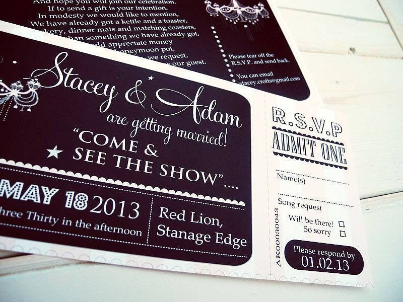theatre ticket invitation by sweet words stationery ...