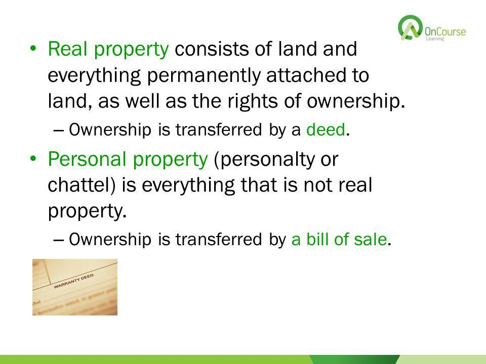 2015 OnCourse Learning Chapter 2 Property Ownership and Interests ...