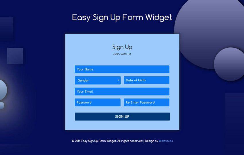 Easy Sign Up Form Widget Flat Responsive Widget Template