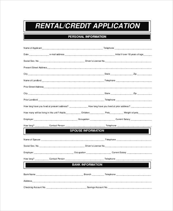 Sample Rental Application - 8+ Examples in PDF, Word