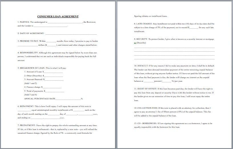 Consumer Loan Agreement Template | Format & Template