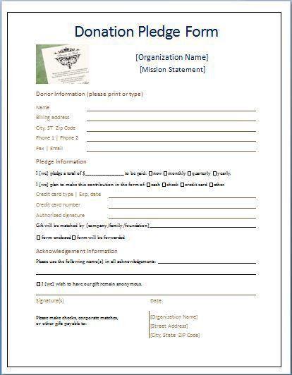 Sample Donation Pledge Form | Daily Medical Forms | Pinterest ...