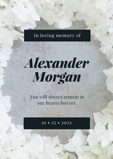 White Flower Photo Death Announcement - Templates by Canva