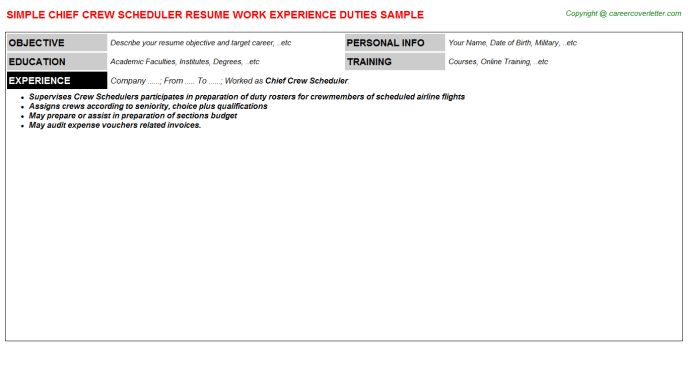 Chief Crew Scheduler Job Title Docs