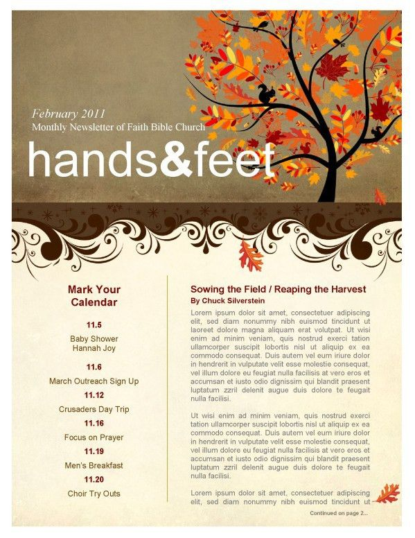 Sunflowers Church Newsletter Template | Newsletter Templates