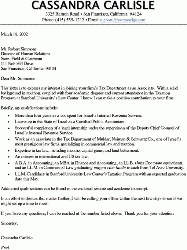 Sample Cover Letter - Accountant