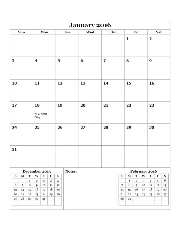 2016 Monthly Calendar Template 14 - Free Printable Templates