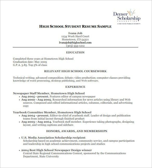 High School Resume Template 9 Free Word Excel Pdf Format Free ...