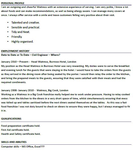 Outstanding Waitress Resume Example 6 Waiter   CV Resume Ideas