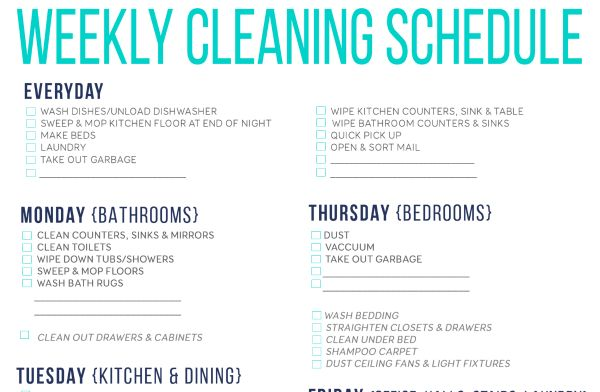 Free Printable Cleaning Schedule For Household Chores - Simplemost