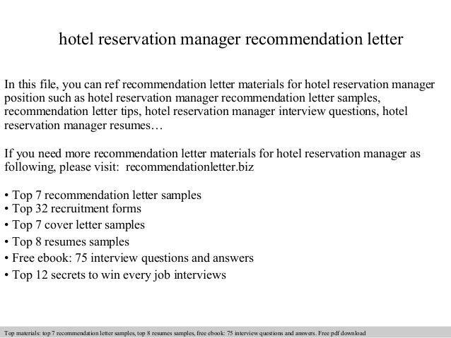 Hotel reservation manager recommendation letter