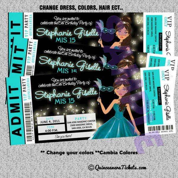 Quinceanera Ticket Invitations