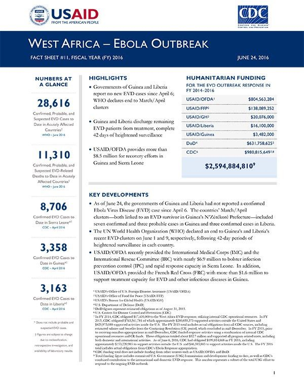 West Africa - Ebola Outbreak Fact Sheet #11 | June 24, 2016 | U.S. ...