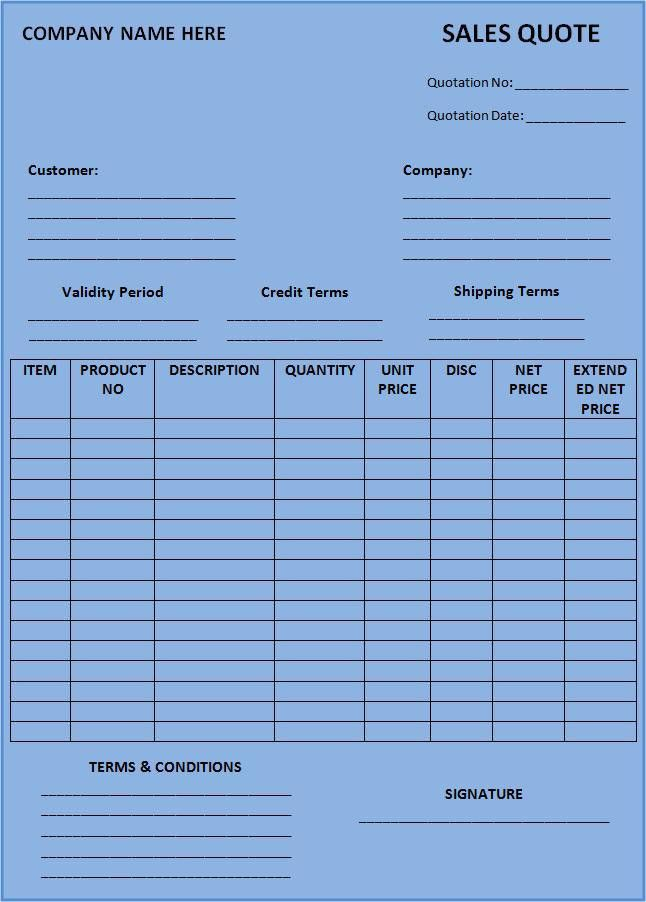 Sales Quotation Template | Free Word Templates