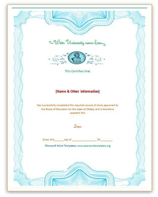 Degree Certificate Template | Save Word Templates
