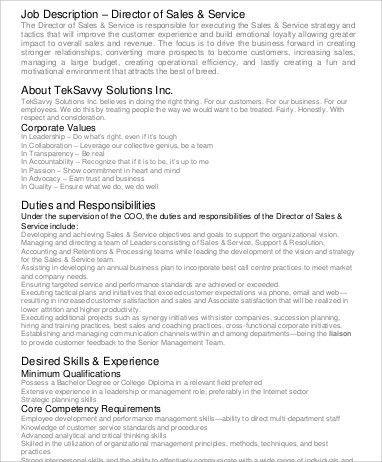 Sales Director Job Description Sample   10+ Examples In Word, PDF