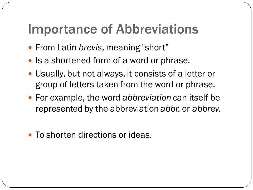 Abbreviations. - ppt download