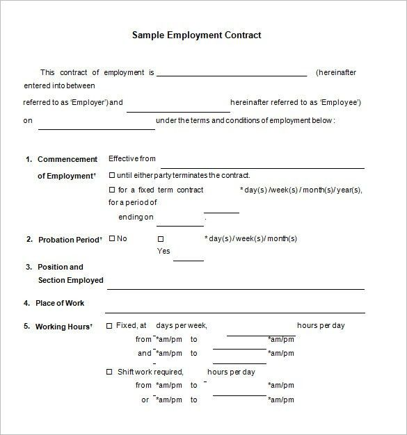 Employment Agreement Template Free Download | Template Design