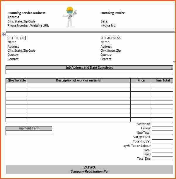 7 Plumbing Receipt Template   Budget Template Letter