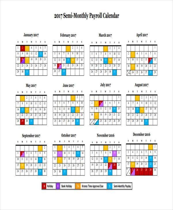 7+ Payroll Calendar Templates   Sample, Example | Free U0026 Premium .  Payroll Schedule Template